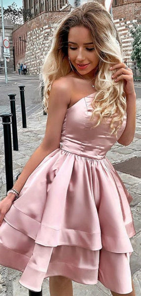 One Shoulder Dusty Rose Backless Satin A Line Short Homecoming Dress, BTW284