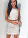 Two Pieces Halter Lace Up Tight With Beads Short Homecoming Dress, BTW286