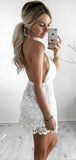 Chic Halter V Neck Lace Backless A Line Mini Homecoming Dresses, BTW296