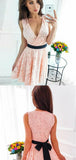 Blush Pink V Neck Sleeveless Lace Mini Short Homecoming Dresses, BTW297