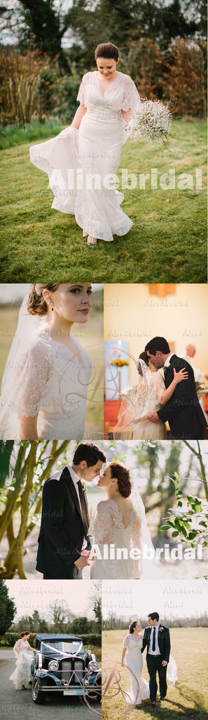 Elegant Ivory Lace Fashion Shawl V-back V-neck Mermaid Train Wedding Dresses, AB1121
