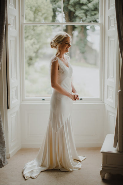 Elegant Ivory Satin Lace Appliques Cap Sleeve V-neck Mermaid Wedding Dress, AB1106