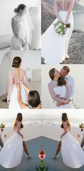 Sexy See Through Tulle Long Sleeve Round Neck Yarn Back High Low Wedding Dress, AB1108
