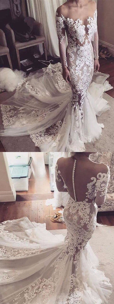 Sexy Mermaid Lace See Through Tulle Long Sleeve Off Shoulder Yarn Back Wedding Dress, AB1109