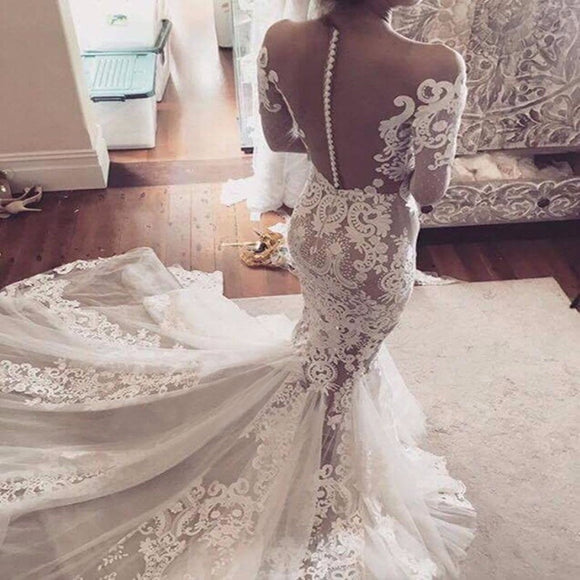 Sexy Mermaid Lace See Through Tulle Long Sleeve Off Shoulder Yarn Back Wedding Dress AB1109