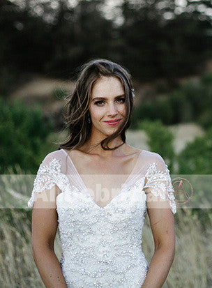 Elegant Gorgeous Affordable Beaded Lace V-neck Short Sleeve Mermaid Wedding Dresses, AB1128