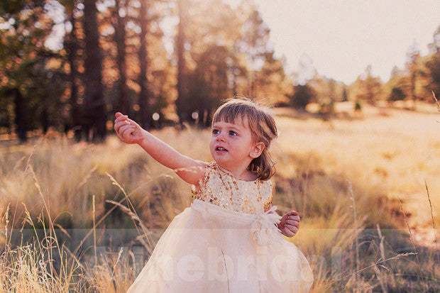 Princess Gold Sequins Princess Knee Length Flower Girl Dresses, FGS043