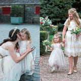 Cute Sweet Lace Top Tulle Cap Sleeve Knee Length Flower Girl Dresses, FGS049