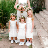 Simple Ivory Round Neck Cap Sleeve Tea Length Cute Flower Girl Dresses, FGS052