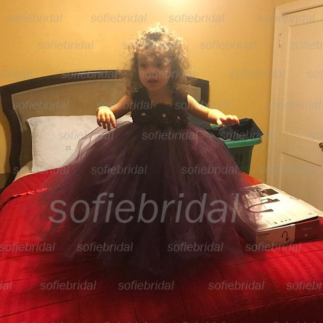 Purple Lace Tulle Flower Girl Dresses, Cheap Lovely Little Girl Dresses,  FG026