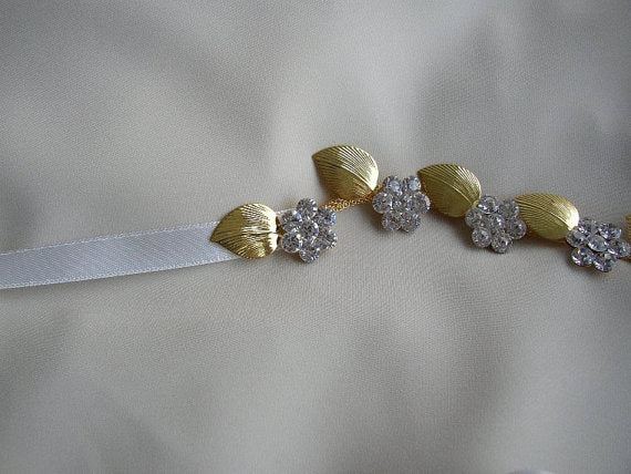 Beaded Floral Bridal Sash, Gold Wedding Sash, Crystals Rhinestone Sash,Gold Leaf Sash, SA0044