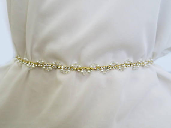 Thin Bridal Belt,Wedding Belt,Crystal Rhinestone Belt,Gorgeous Beading Belt,Pearl Belt, SA0040