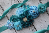 Teal Sash, Baby blue Sash, Flower Belt, Flower Girl Sash, Bridesmaids Sash,Maternity Sash, SA0031