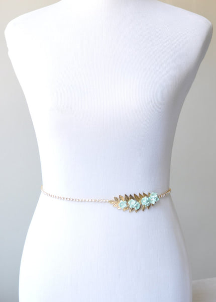 Flower Bridal Sash, Gold Wedding Sash with Mint Flowers and Crystals, Leaf Sash, SA0042