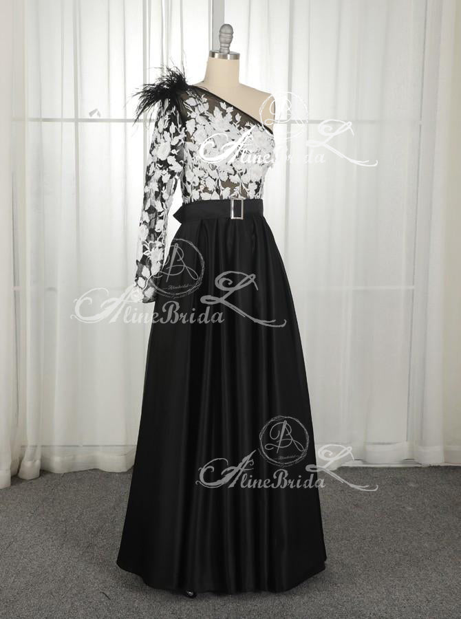 Black One Shoulder Long Sleeve Lace Satin Prom Dresses ,PD00202
