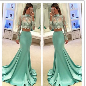 2017 Long Sleeve Green Two pieces Mermaid Lace Sexy Prom Gown Dresses, PD0201