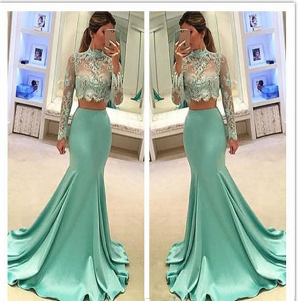 2017 long sleeve green two pieces mermaid lace sexy prom