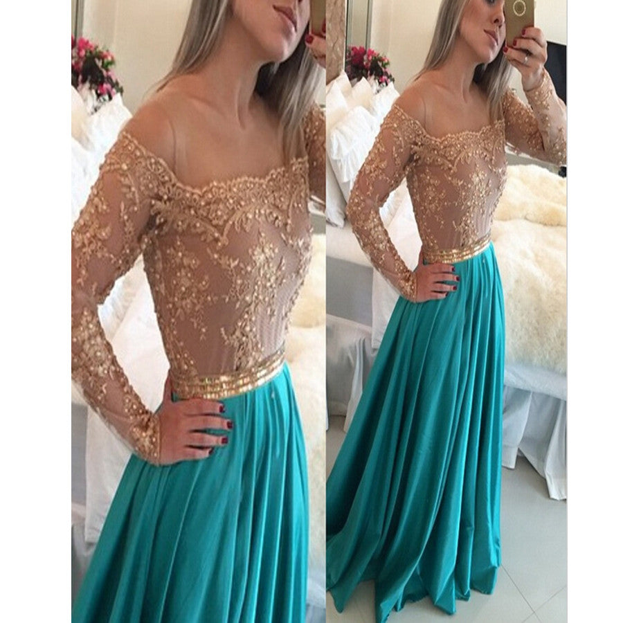 New Arrival Lace With Long Sleeve Evening Party Prom Dress ,PD0204