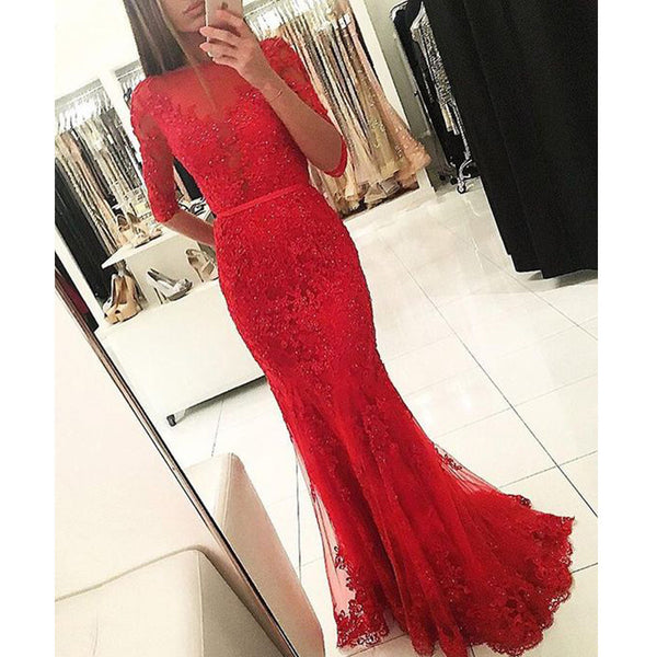 2017 Blush Red Mermaid Beaded Sparkly With Half Sleeve Lace Prom Dresses PD0205