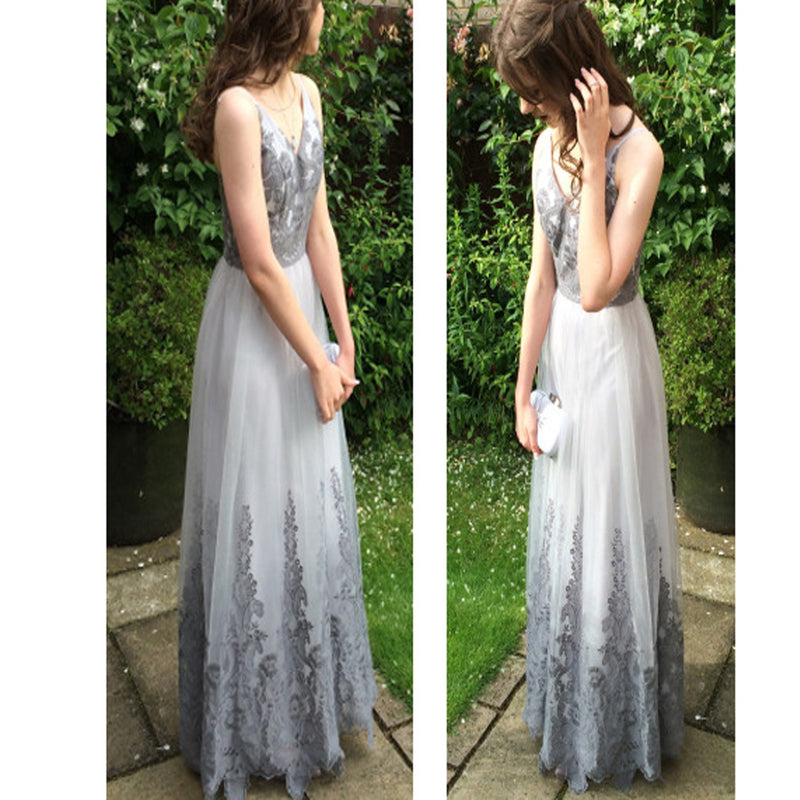 2017 Long Custom With Appliques For Teens A-line Graduation Evening Party Dress. PD0207