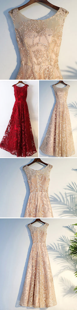 Elegant Sleeveless Round Neck High Full Appliques Long A-line School Prom Dresses,PD00002