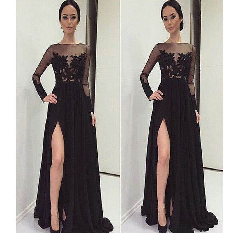 2017 Long Sleeve Black With Slip Side Sexy Appliques Charming Evening Dress For Prom Gown.  PD0210