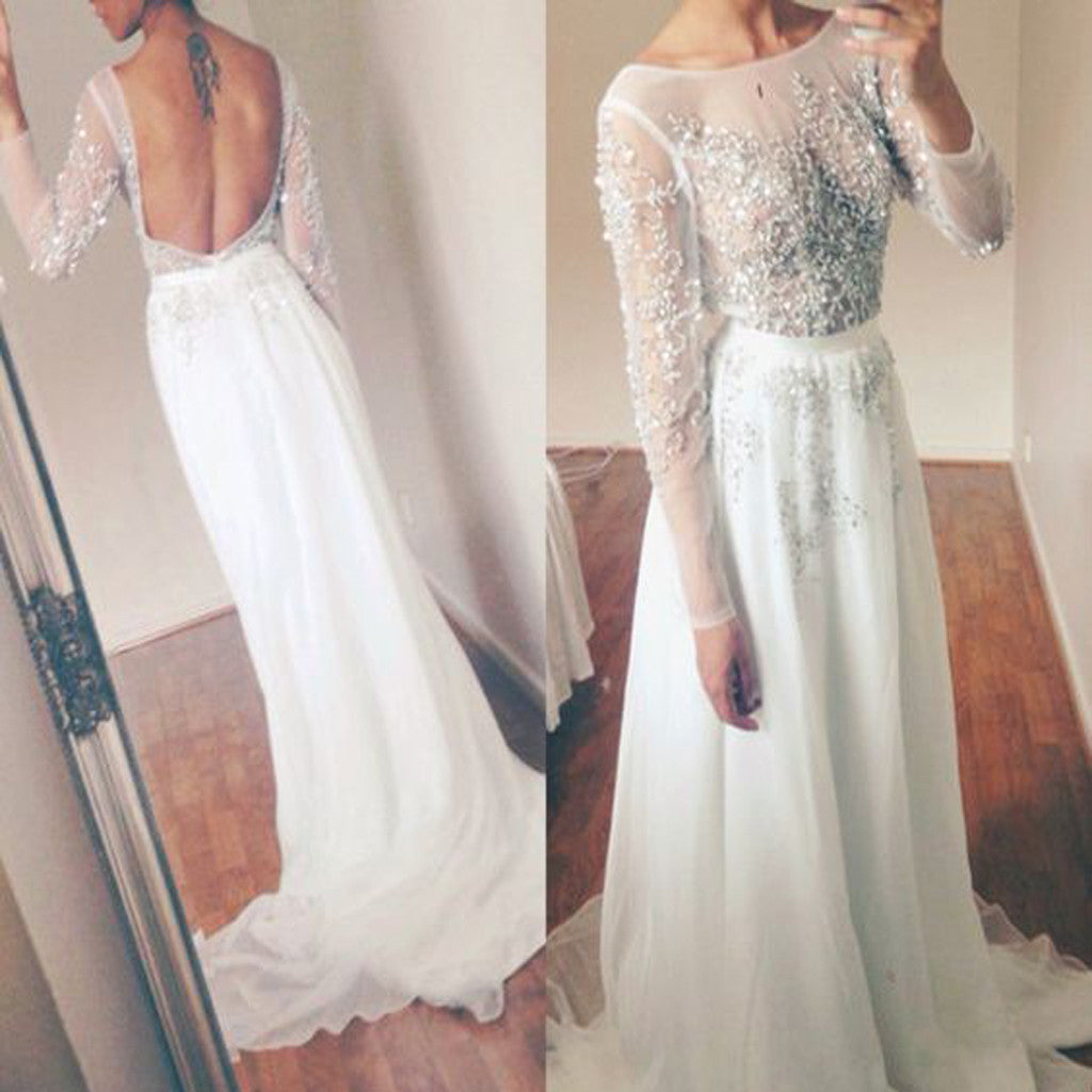 Long Sleeve White Tulle Beaded Sparkly Open Back Elegant  Prom Gown.  PD0210