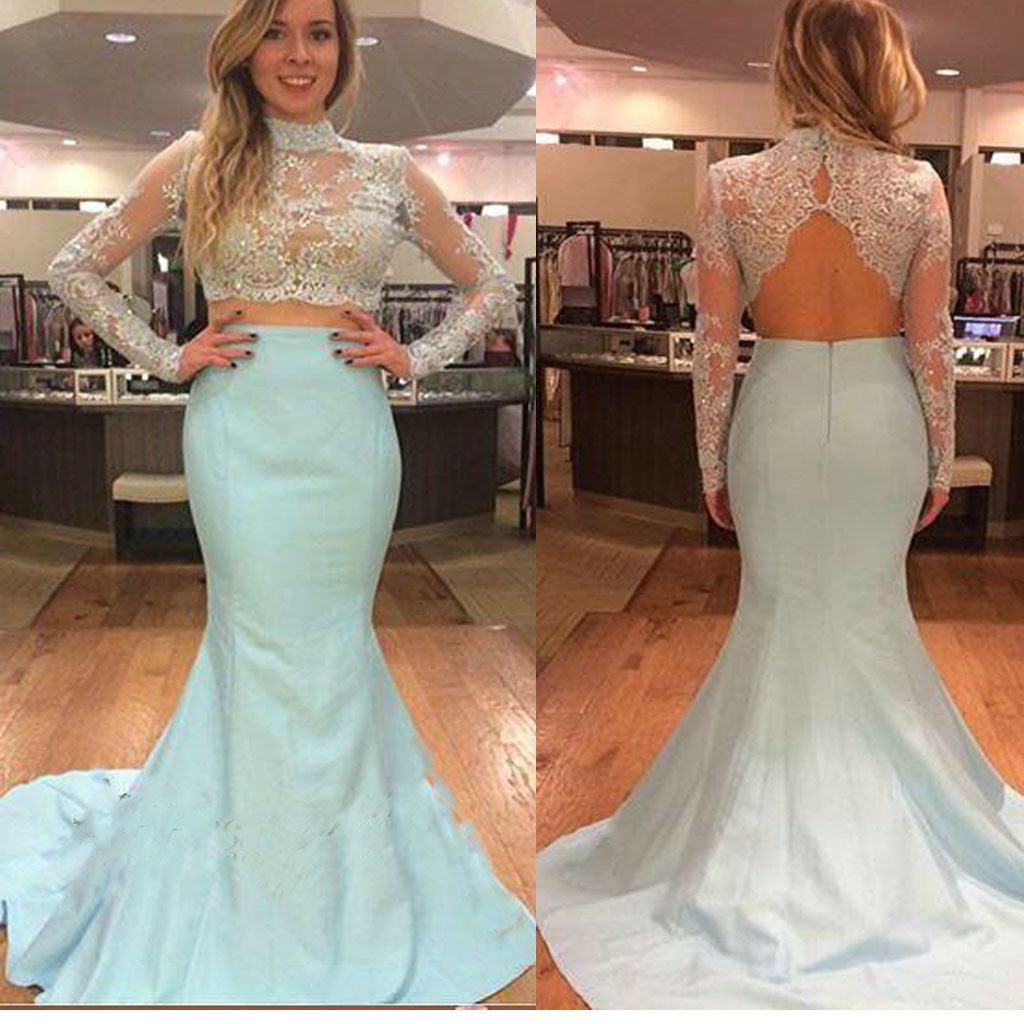 Long Sleeve High Neck Two Pieces Open Back Elegant Charming Prom Gown Dresses. PD0222