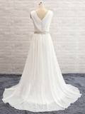 Long Custom White Simple Lace Elegant Wedding Prom Dress, PD0020