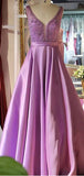 Elegant V Neck Sleeveless A Line Beaded Satin Long Evening Prom Dresses, PD0013