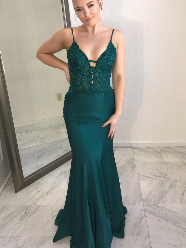 Sexy Hunter green Spaghetti Strap Open Back Mermaid Long Evening Prom Dresses, PD0022