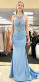 Halter Pale Blue Lace Top Mermaid With Train Long Evening Prom Dresses, PD0023