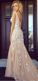 Cap Sleeves Round Neck Applique Tulle Mermaid Long Evening Prom Dresses, PD0015