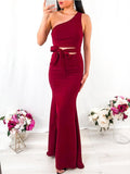 One Shoulder Burgundy Mermaid Side Slit Long Evening Prom Dresses, PD0039