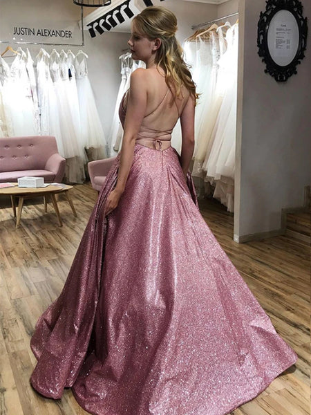 Sparkle Spaghetti Strap Satin Lace Up Back Long Evening Prom Dresses, PD0040