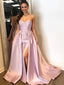 Strapless Sweetheart Applique Satin Split A Line Long Evening Prom Dresses, PD0026