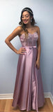 Sweetheart Lace Top Satin A Line Applique Long Evening Prom Dresses, PD0027
