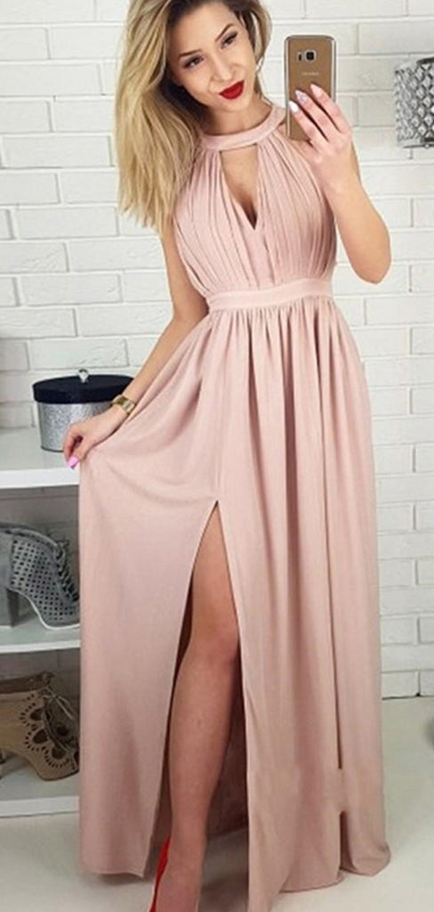Halter Blush Pink Side Slit A Line Floor Length Long Evening Prom Dresses, PD0029