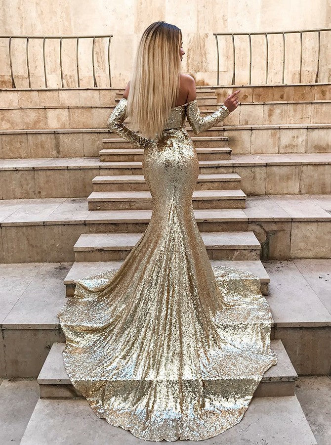 Sparkly Off Shoulder Long Sleeves Sequin Mermaid Evening Prom Dresses, PD0031