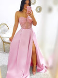 Strapless Sweetheart Satin A Line Side Slit Long Evening Prom Dresses, PD0036