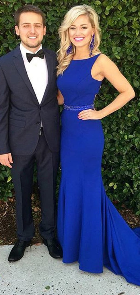 Simple Royal Blue Sleeveless Mermaid With Train Long Evening Prom Dresses, PD0020