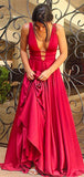 Simple Rose Red Deep V Neck Open Back A Line Long Evening Prom Dresses, PD0009