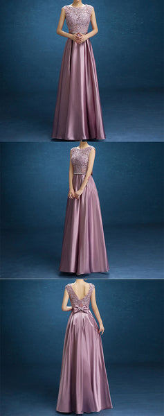 Elegant Purple Lace Satin With Bow Knot V-back Sleeveless A-line Prom Dresses,PD00021