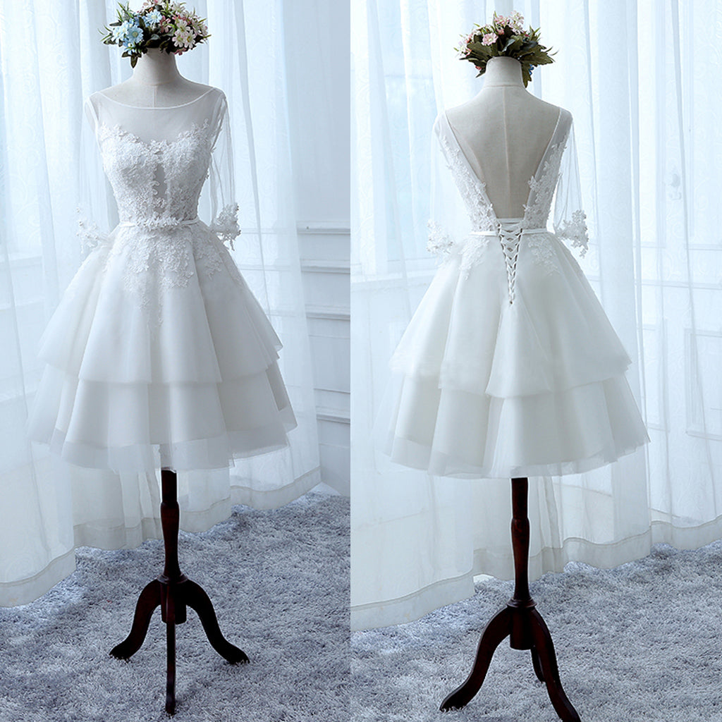 White Lace Half Sleeve Ruffles Tiered Skirts Short Wedding Bridesmaid Dress,BD00213