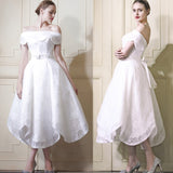 Elegant Petal Off Shoulder Tea-length Full Lace Beading Sash Wedding Dresses,BD00212