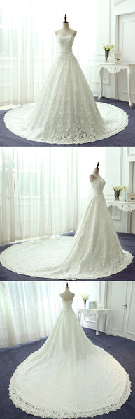 Vintage Ivory Lace Beading A-line Sweetheart Strapless Lace Up Back Gorgeous  Cathedral Train  Wedding Dress, AB1098