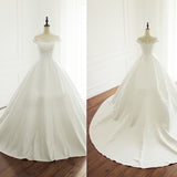 Elegant Simple Satin Appliques Beads Cap Sleeve Ball Gown Yarn Scoop Neck  Chapel Trailing Wedding Dress, AB1096