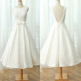 Cheap Charming Simple A-line Lace V-back Sleeveless  Elegant Tea-length Wedding Dress,Newest Prom Dress, AB1101