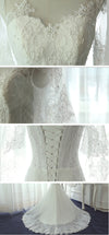 Unique Half Sleeve Yarn Lace Up Back Full Lace Beading Elegant Mermaid  Chapel Trailing Wedding Dress, AB1103