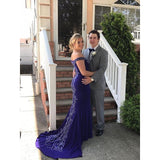 Sexy Charming Royal Blue Off Shoulder Appliques Mermaid Formal Evening Party Prom Dresses,PD00029